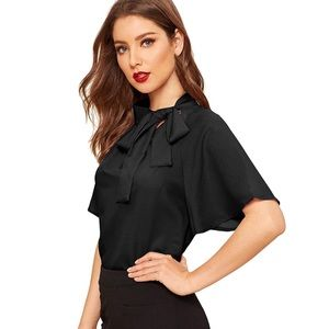 Short Sleeve Blouse Shirt Top Side Bow Tie Neck